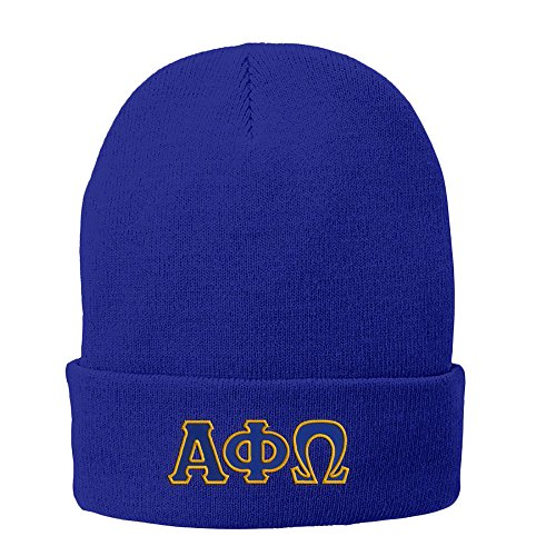 - Alpha Phi Omega Big Greek Lettered Knit Cap Athletic Royal w/Royal Blue/Light Gold Thread Color