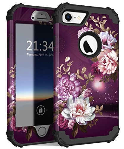 - Hocase iPhone 8 Case/iPhone 7 Case, Shockproof Protection Heavy Duty Hard Plastic+Silicone Rubber Bumper Full Body Protective Case for iPhone 8/iPhone 7 (4.7-inch Display) - Burgundy Flowers