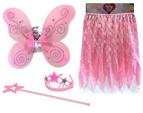 Girls Princess Fairy Costume - Dress Up Wings Set - Tiara and Wings - Costume Fairy Princess - WINGS, TIARA, SKIRT, WAND (Ballerina Halloween Costume Makeup)