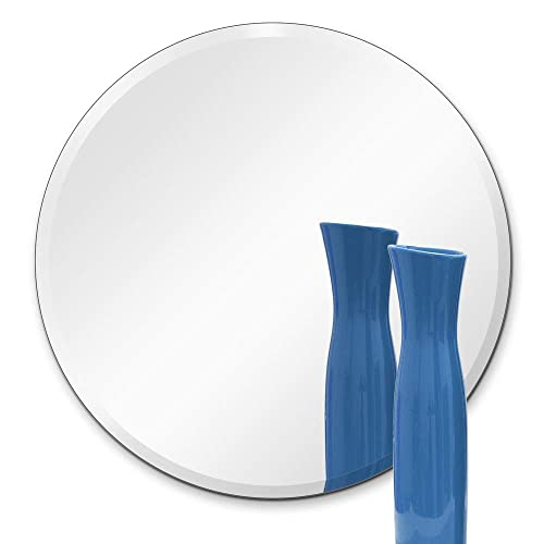 TroySys Frameless Beveled Mirror, Round Shape, 1 4 Thick Glass Mirror