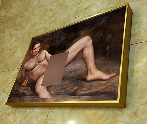 Hand Print Art (Framed Art Prints Realism Painting Nude Male in The Field Gay Art Canvas Transfer from Oil Painting with Hand-Painted Detail HD Giclee Print Signed Sexy Wall Art Decor)