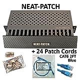 Neat Patch Cable Manager (1 Unit) w/ 24 CAT6 Patch Cables (2FT Blue)