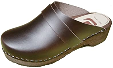 Mens Brown Toffeln Wooden Original Leather Clogs 10