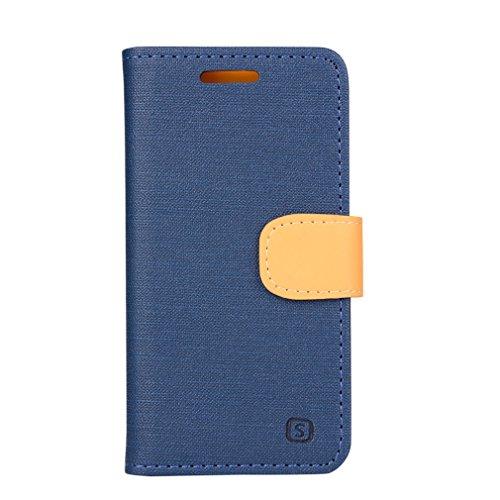 A9H Samsung Galaxy A3 (2015) Funda Protectiva Carcasa Cuero Resistente Cierre Magnético,carcasa en folio, soporte plegable,ranuras para tarjetas-rose 06Deep blue