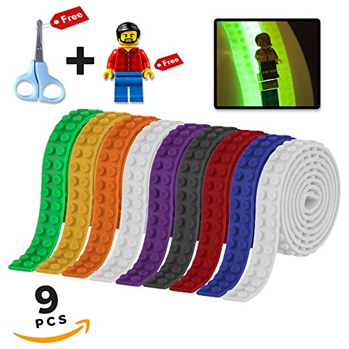 Building Block Tape, Lego Tape Roll Compatible with Lego Bricks, Glow in the Dark, Easy Kids Crafts, 9 Rolls, Free Scissors and - In Make To Party A The Dark Glow How