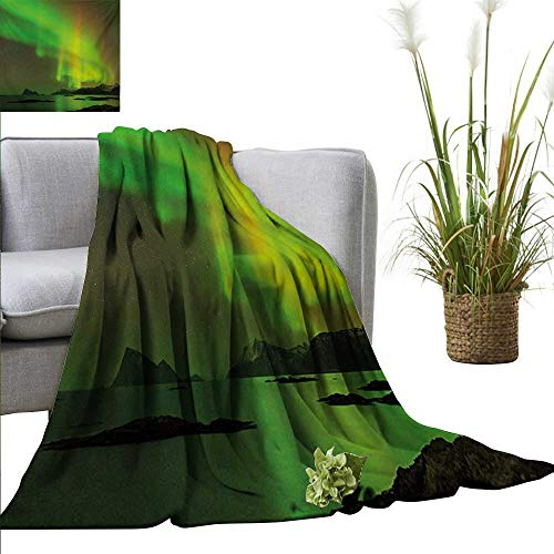 """Weighted Blanket for Kids Aurora Borealis,Magical Enchanted Universe Sky with Reflections Tranquil Scenery,Lime and Reseda Green Weighted Blanket for Adults Kids Better Deeper Sleep 35""""x60"""""""