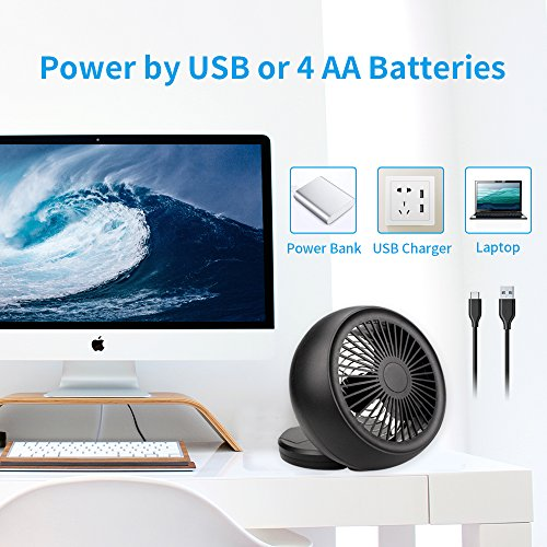 Mini USB Fan, Throne 6 Portable Desk Fan w/USB and Battery Dual Power Supply, Angle Adjustable and Low Noise, Silent Cooling Fan for Home, Office with Powerful Airflow (Black) by WolfArya (Image #3)