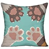 HCZHUCK Decorative Cute Cat Paw Throw Pillow Fashion Square Cushion Pillow & Pillowcase Cover Hidden Zipper 18''x18'' For Couch Sofa Bed Car Home Decor-Include Insert