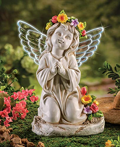 CT DISCOUNT STORE Elegant Kneeling Angel Solar Wing Flower Garden Decoration (Garden Statues Cherub)
