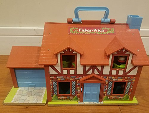 Vintage Little People - Vintage Fisher Price Little People Brown Tudor House with accessories