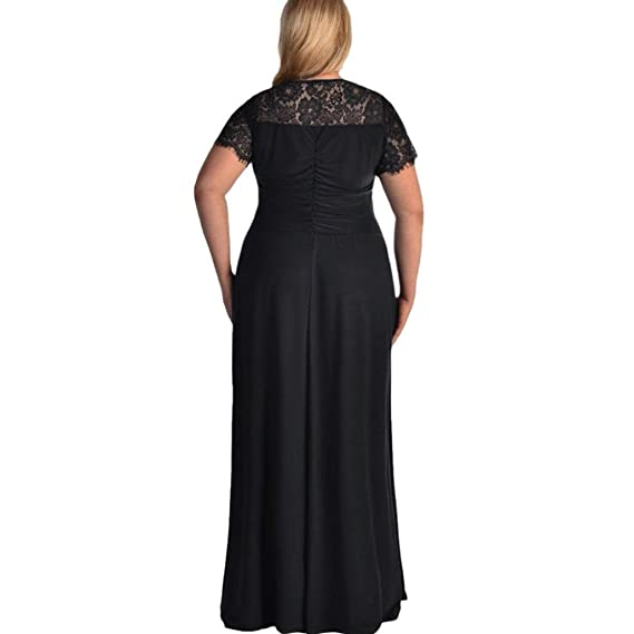Minisoya Women Plus Size Short Sleeve Casual Evening Prom Party Gown Cocktail Dress Draped Loose Lace Long Maxi Dress at Amazon Womens Clothing store:
