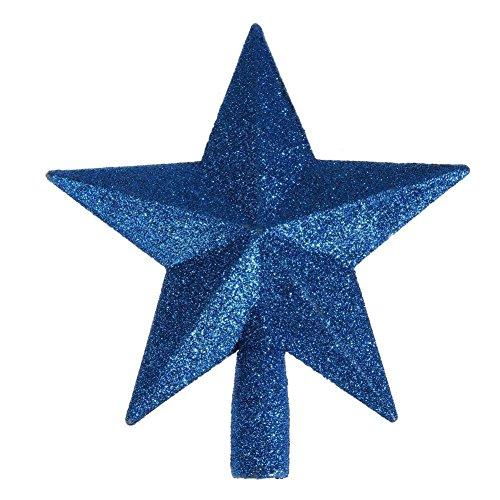 Blue Christmas Topper (Whitelotous Five-pointed Star Christmas Tree Topper Glittered Stars Xmas Tree Top Decor Accessories Sparkle Ornament(Blue))