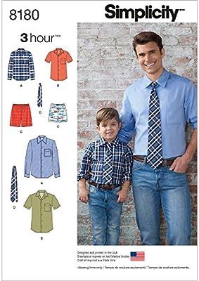 Simplicity Pattern 8180 Boys y Hombres de la Camisa, Pantalones Cortos Boxer y Corbata, Color Blanco: Amazon.es: Hogar