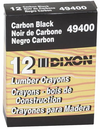 Dixon Lumber Crayon, Permanent, Carbon Black, 12-Count (49400) Size: BLACK Model: 49400 Office Product