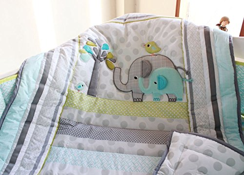 NAUGHTYBOSS Unisex Baby Bedding Set Cotton 3D Embroidery Elephant Bird Quilt Bumper Mattress Cover Blanket 8 Pieces Green by NAUGHTYBOSS (Image #5)
