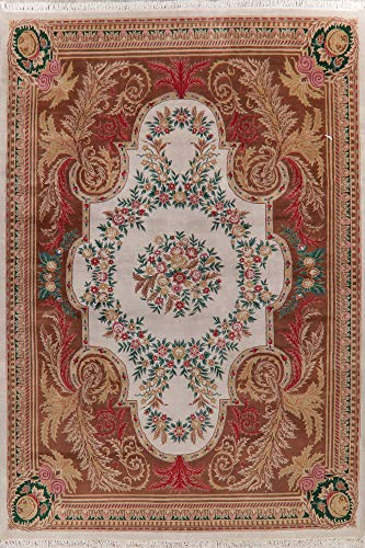 Aubusson Oriental Area Rug Hand-Knotted Wool Floral 10 X 14 New Indian Carpet