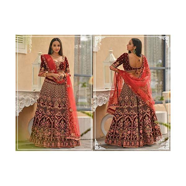SHRI BALAJI SILK & COTTON SAREE EMPORIUM 9373 Indian Semi Stitched Velvet Lehenga Choli Pakistani Party Ghagraa Women