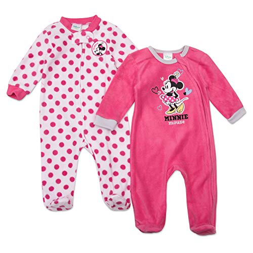 Disney Minnie Mouse Footie Pajamas - Minnie Mouse Baby Girls Footie Sleeper - 2 Piece Set (Pink/Pink Dots, 6M-9M) -