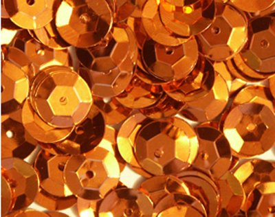 (5mm CUP SEQUINS ~ ORANGE Metallic ~ Loose paillette sequins for embroidery, applique, arts, crafts, bridal wear and embellishment. Made in USA)