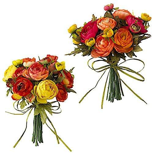 """Arrangement Fall Flowers - RAZ Imports Set of 2 Artificial Flowers Bouquet Ranunculus Bundle Ornamental Wall Table Wedding Party Decoration Arrangements 9"""" H (20 Multicolor Stems)"""
