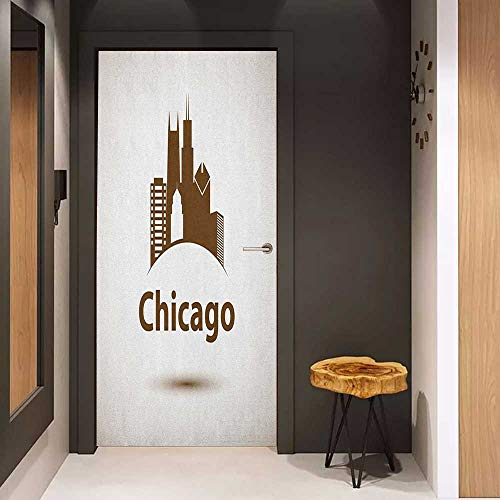 Onefzc Photo Wall Decal Chicago Skyline USA City Old Fashioned Urban in Earth Toned Retro Poster Design for Home Decor W36 x H79 Eggshell Chocolate