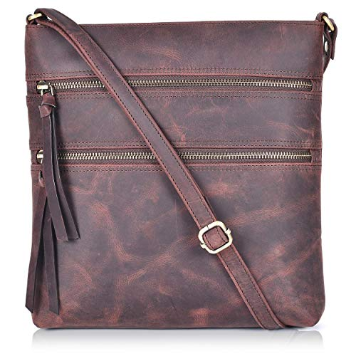 Genuine Leather Crossover Bags for Women Crossbody Long Slim Slings for Women