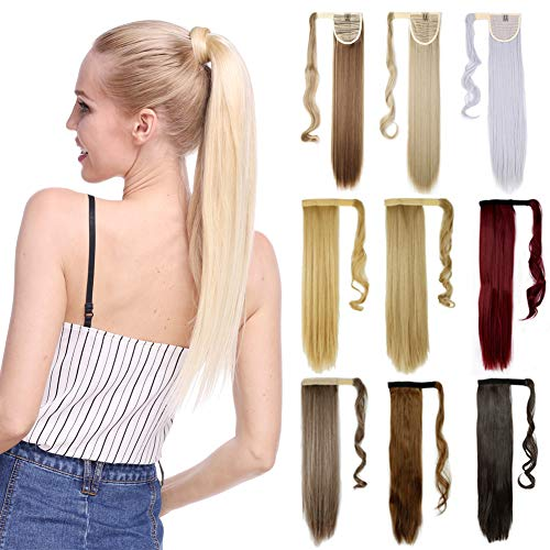 (17-26 Inch Straight Curly Wavy Wrap Around Ponytail Hair Extension Clip in One Piece Synthetic Hairpiece for Women-ash blonde mix bleach blonde)