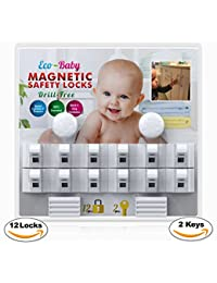 Baby & Child Proof Cabinet & Drawers Magnetic Safety Locks Set of 12 with 2 Keys By Eco-Baby - Heavy Duty Locking System with 3M Adhesive Tape Easy To Install Without Damaging Your Furniture BOBEBE Online Baby Store From New York to Miami and Los Angeles