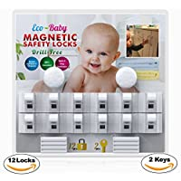 Baby & Child Proof Cabinet & Drawers Magnetic Safety Locks Set of 12 with 2 K...