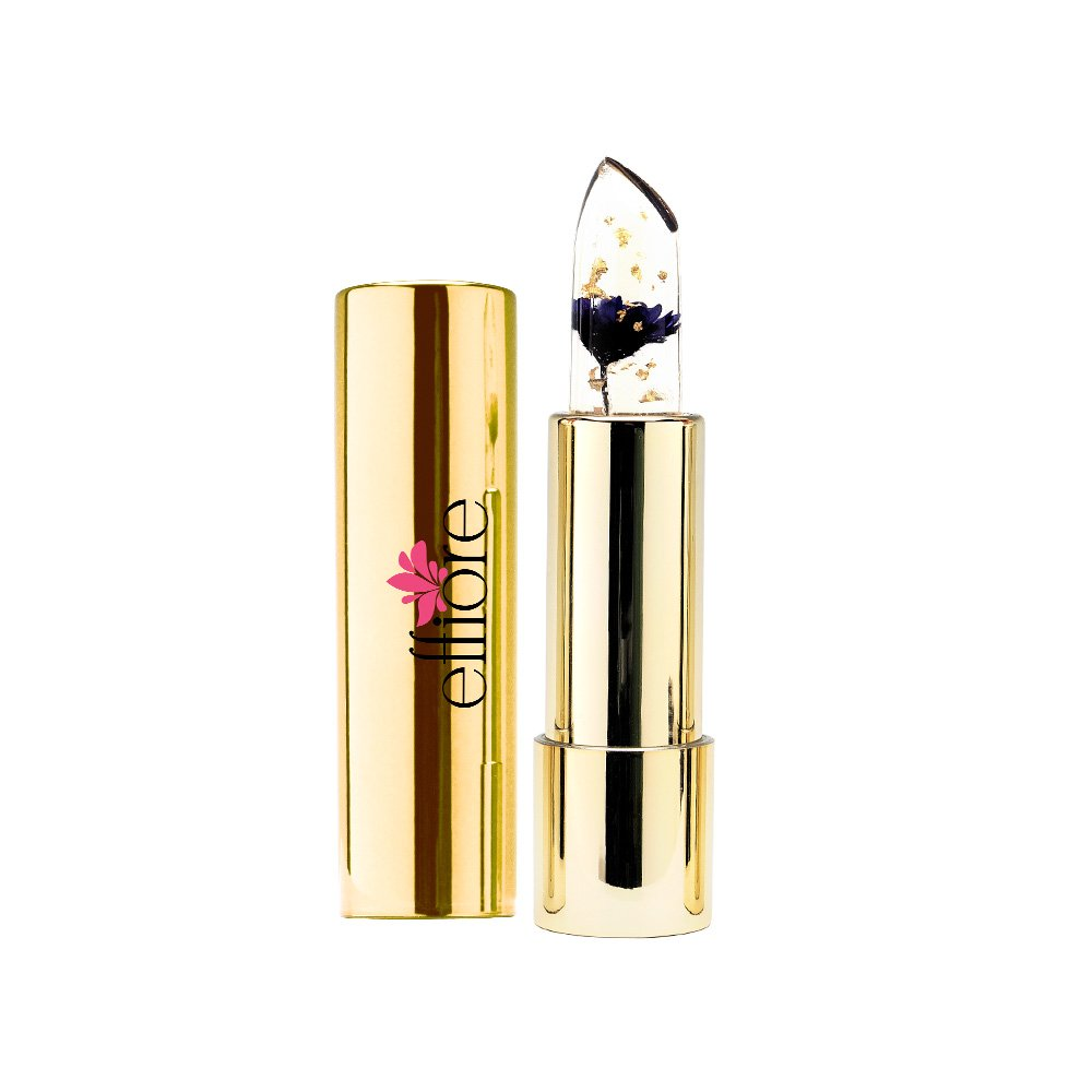 Effiore Lipstick Color Changing Cruelty-Free Lipstick that Stains Lips Based on Mood Made w/Real Flowers & Compact Case (Nightshade Purple)