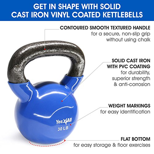 Yes4All Vinyl Coated Kettlebell Weights Set – Great for Full Body Workout and Strength Training – Vinyl Kettlebell 30 lbs by Yes4All (Image #2)