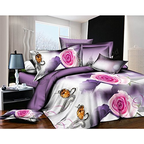 Bazaar 4pcs 3D Flower Bedding Set HomeTextiles With Quilt Cover Bed Sheet Pillow Case