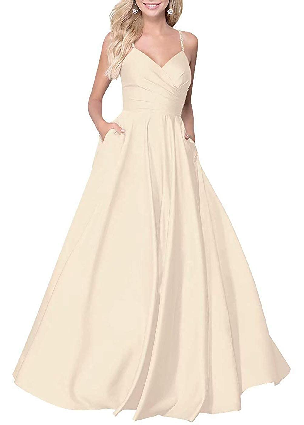 Champagne RTTUTED Satin ALine Long Prom Dresses for Women V Neck Formal Evening Gown with Pockets