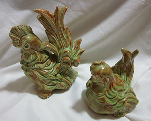 (Vintage Set of Ceramic Rooster and Hen Made in Japan (Rooster 8