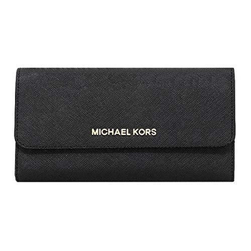 Michael Kors Jet Set Travel Large Saffiano Leather Trifold Wallet (Black) by Michael Kors