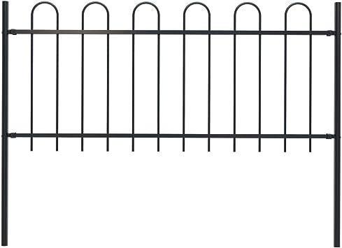 vidaXL Valla de jardín con diseño de planchado, postes, valla de metal, valla de joyas, valla de acero, valla de vallas, puerta, acero, 1,7 x 1 m, color negro: Amazon.es: Bricolaje y