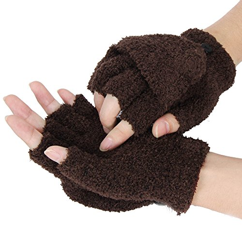 Women Girls Winter Half Finger Flip Hand Wrist Warmer Gloves Mitten (Coffee)