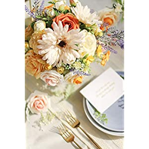 Ling's moment Artificial Gerbera Daisy Flowers Pack of 24 Cream Daisies Flower for DIY Wedding Bouquets Centerpieces Arrangements Home Decor 5