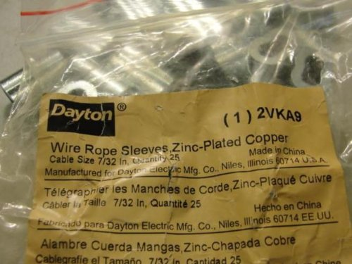 Dayton 2VKA9 Pk-25 Sleeves, For Cable Size 7/32''