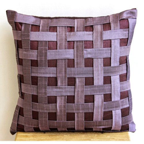 Designer Purple Throw Pillows Cover, Textured Basket Weave