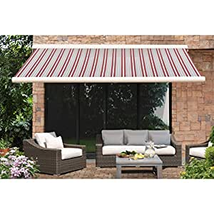 Sunjoy Multicolor Steel Striped Full Cassette Awning