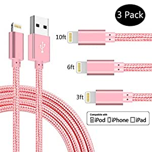 SPEATE,iPhone Chargers 3PCS 3FT 6FT 10FT Nylon Braided Lightning USB Cable Cord Charger Compatible with iPhone X iPhone 8 8 Plus 7 7 Plus 6 6s 6 Plus, iPhone 5 5s,iPad, iPod (Rose Gold)