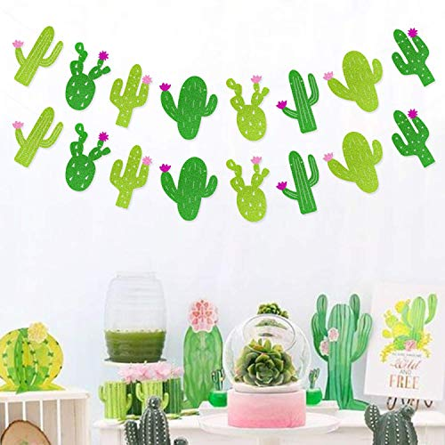 Yaaaaasss! Fiesta Banner Cacti Garlands Green Glitter Mexican Theme Party Decor Llama Party Supplies ()