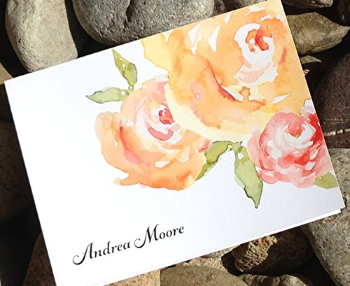 Personalized Stationery Note Cards - Floral, Watercolor, Thank You Notes - Stationary with Envelopes by Soiree Custom Paper Co