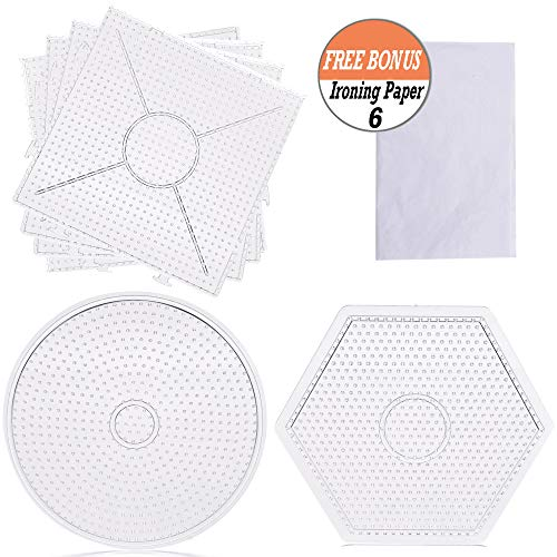 6 Pack Fuse Beads Pegboards - Buytra Fuse Bead Boards, Large Clear Plastic Peg Boards with 6 Pieces Fusion Ironing Paper for Kids DIY Crafts Projects, Square, Round, Hexagon Shape -