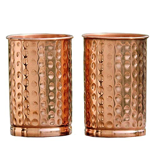 (HealthAndWealth - Hammered Pure Copper Tumbler Set of 2 | Pure Copper Water Mug | Hold 250 ML Water For Ayurvedic Health Benifits)
