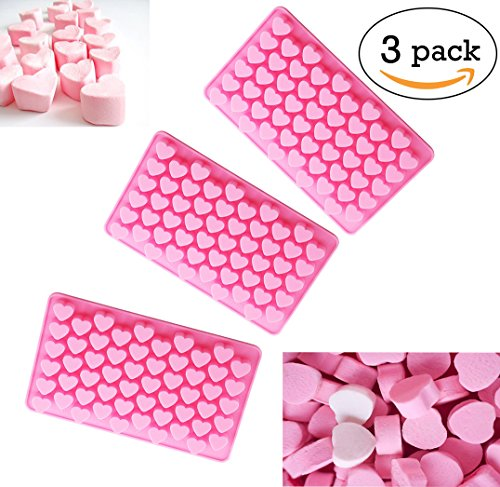 Mini Heart Shape Silicone Mold - 55 Cavity for Gelatin Ice Cube Candy Chocolate Jello Mold - 3 Pack (Mold Wax Silicone)