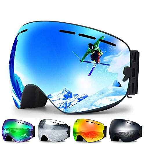 Zerhunt Ski Goggles, Snowboard Goggles Over Glasses, Anti Fog UV Protection Snow Goggles OTG Interchangeable Lens for Men Women Snowmobile, Skiing, Skating, Blue