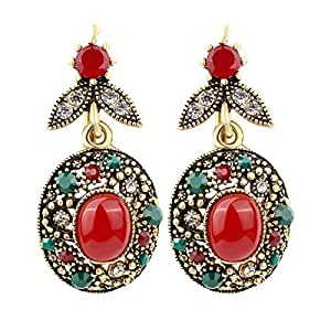 Vintage Colourful Statement Drop Earrings with Red Ruby Resin