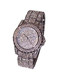 TONSEE Women Luxury Rhinestone Ceramic Crystal Quartz Watches - Silver